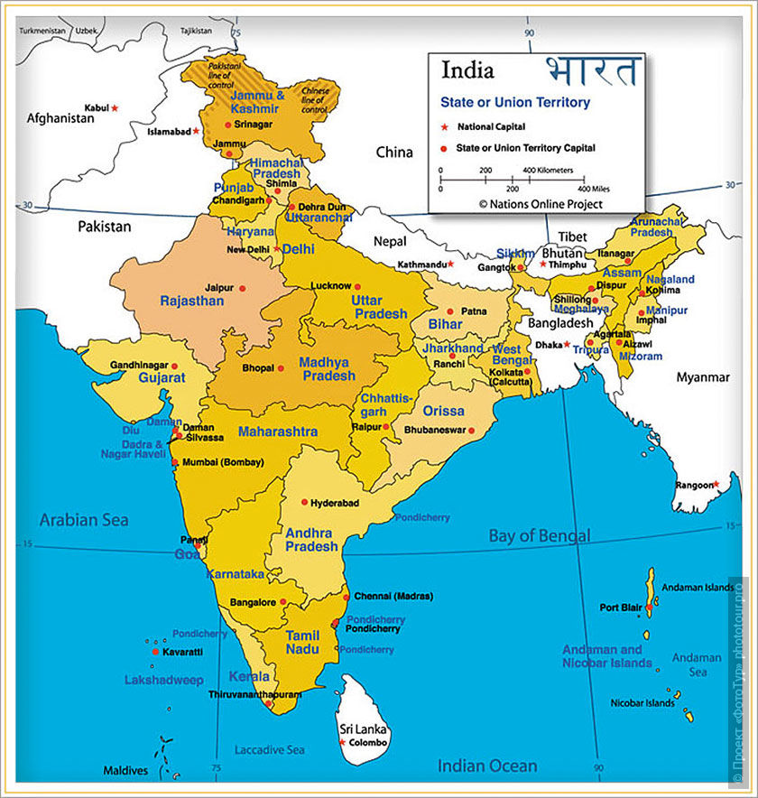 Карта индии со штата и