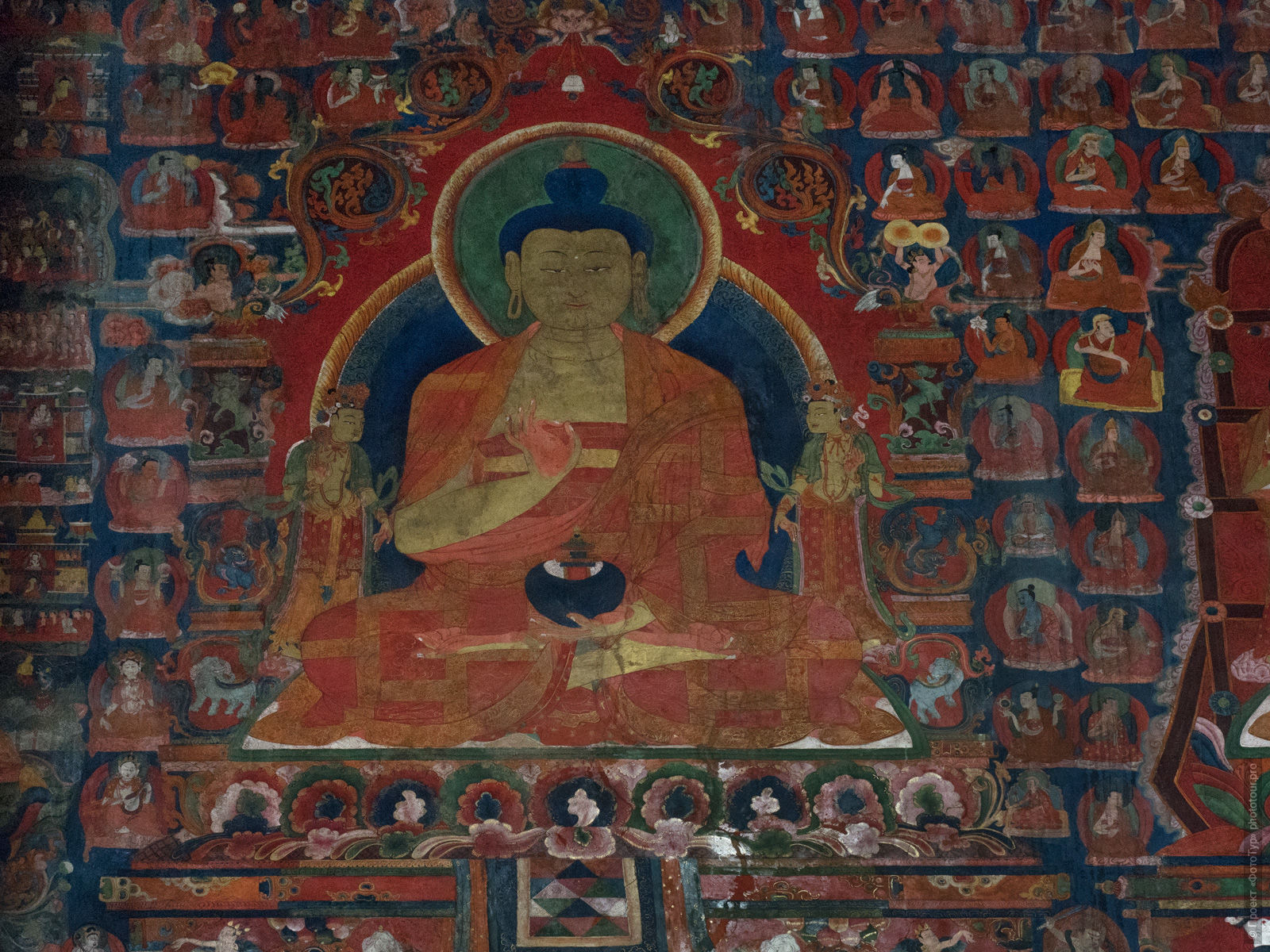 Ancient paintings in the Buddhist monastery of Basgo, Ladakh women's tour, August 31 - September 14, 2019.