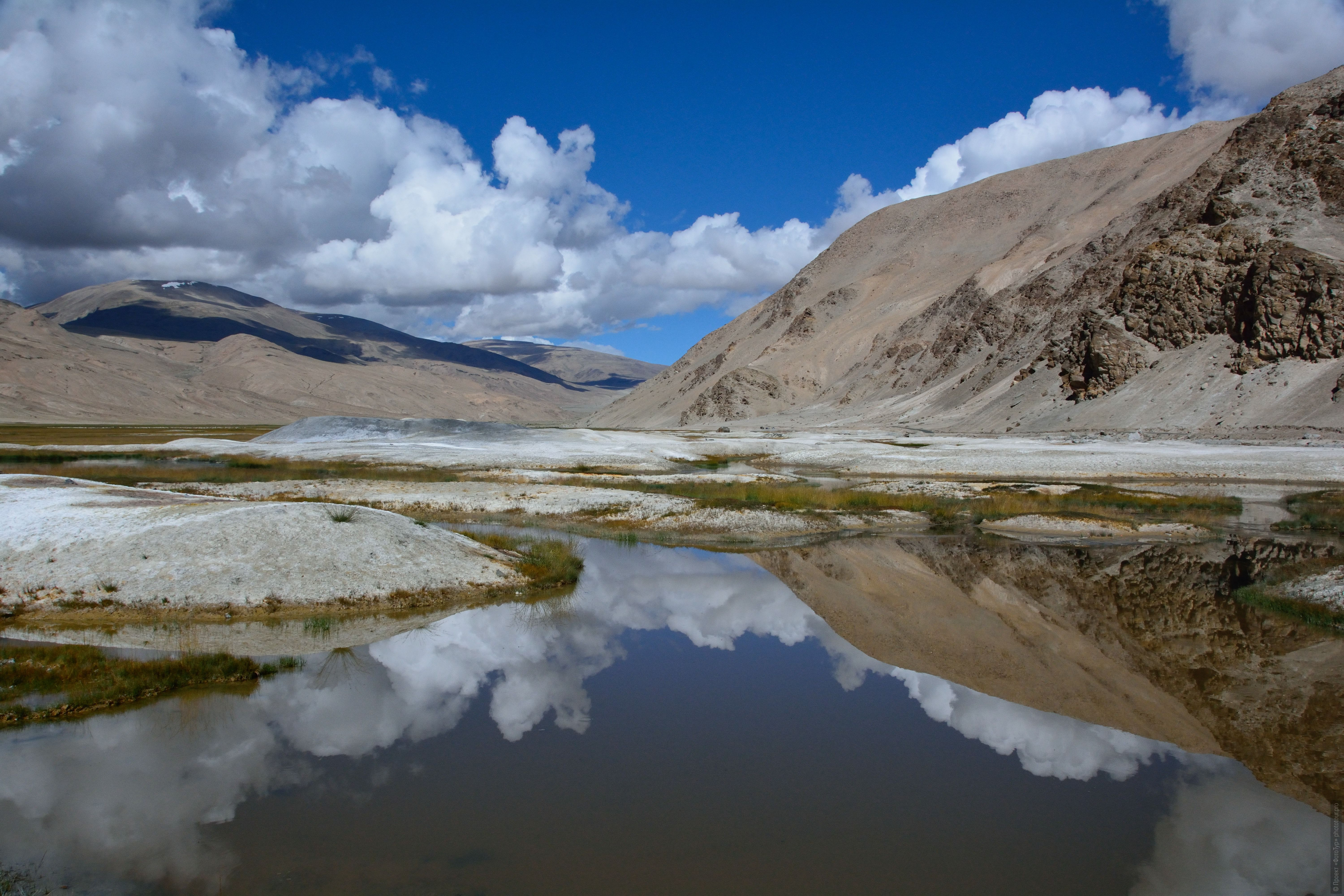 Valley of Alpine Geysers, Ladakh. Photo tour / tour Tibet of Lake-1: Pangong, Tso Moriri, Tso Kar, Tso Chiagar, Dance of Tsam on Lake Pangong, 19.06. - 28.06.2021.