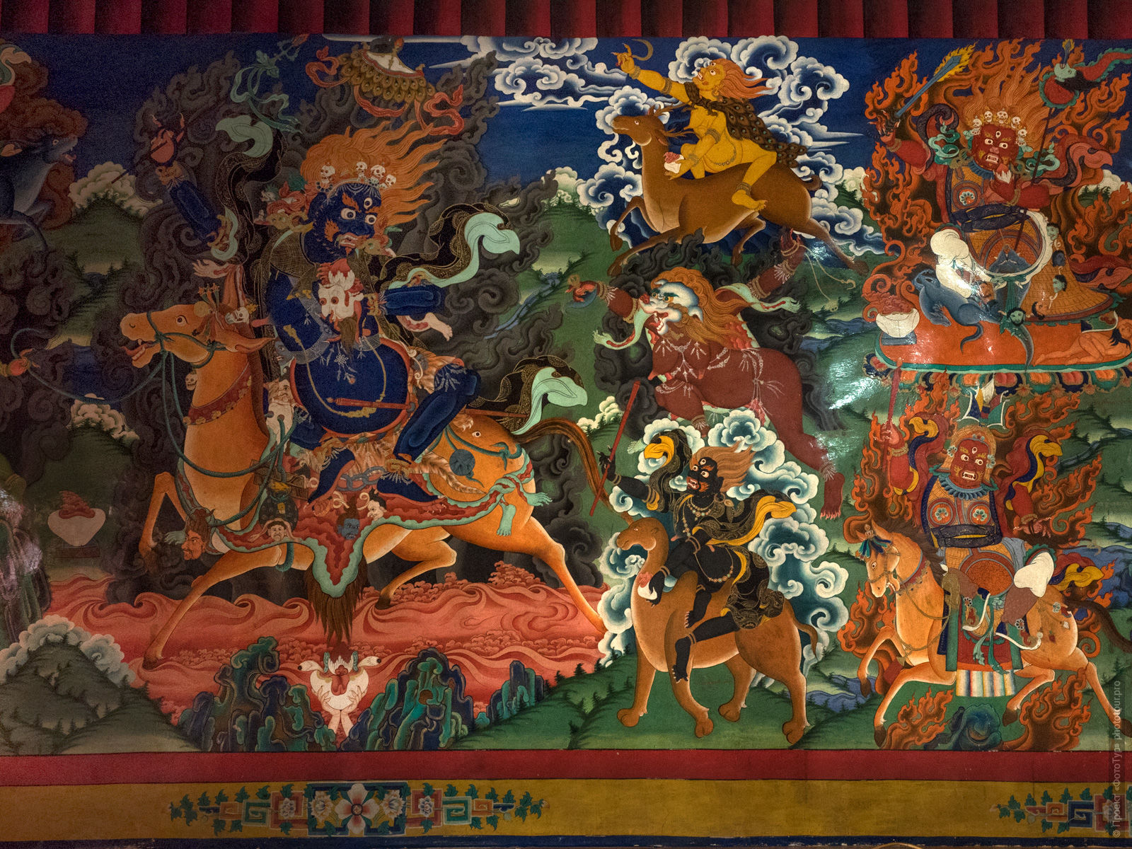 Buddhist paintings in the monastery Likir. Photo tour to Tibet for the Winter Mysteries in Ladakh, Stok and Matho monasteries, 01.03. - 03/10/2020