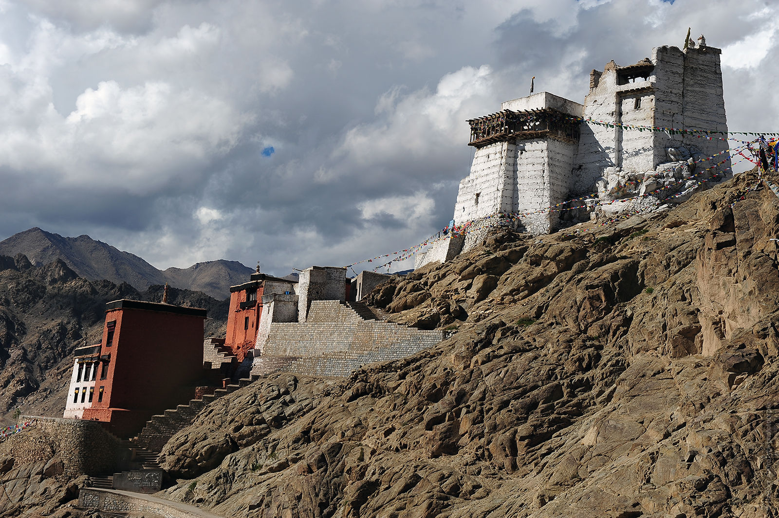 Buddhist monastery and a fortress Namngyal Tskmo, Lech. Tour of Ladakh, Himalayas, 2017.