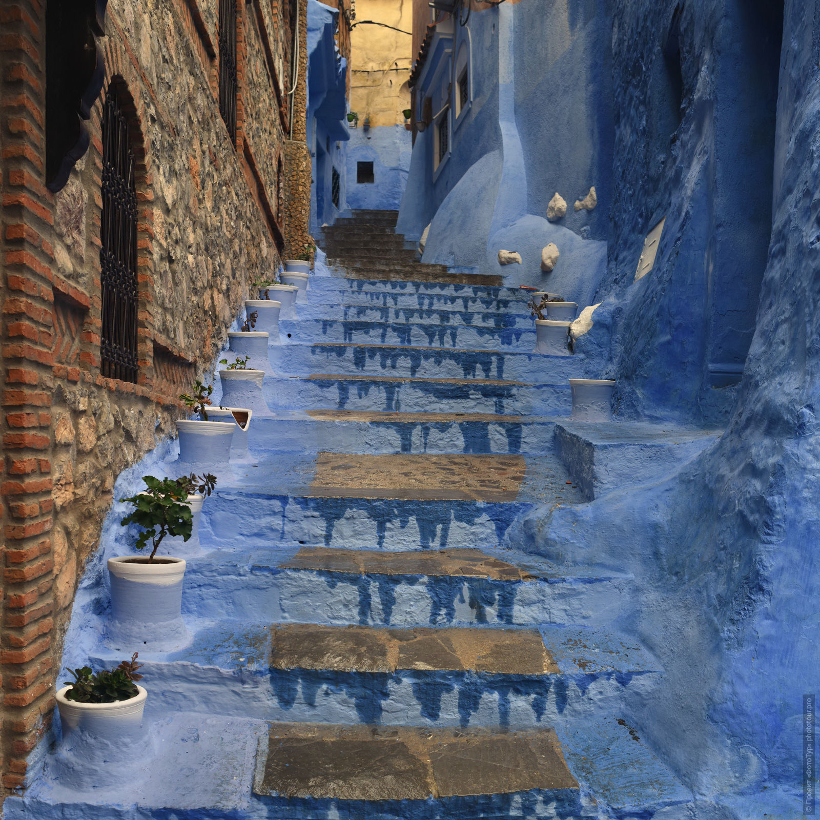 Stairs of the medina of Chefchaouen, Morocco, photo tour of Morocco, October 2018.