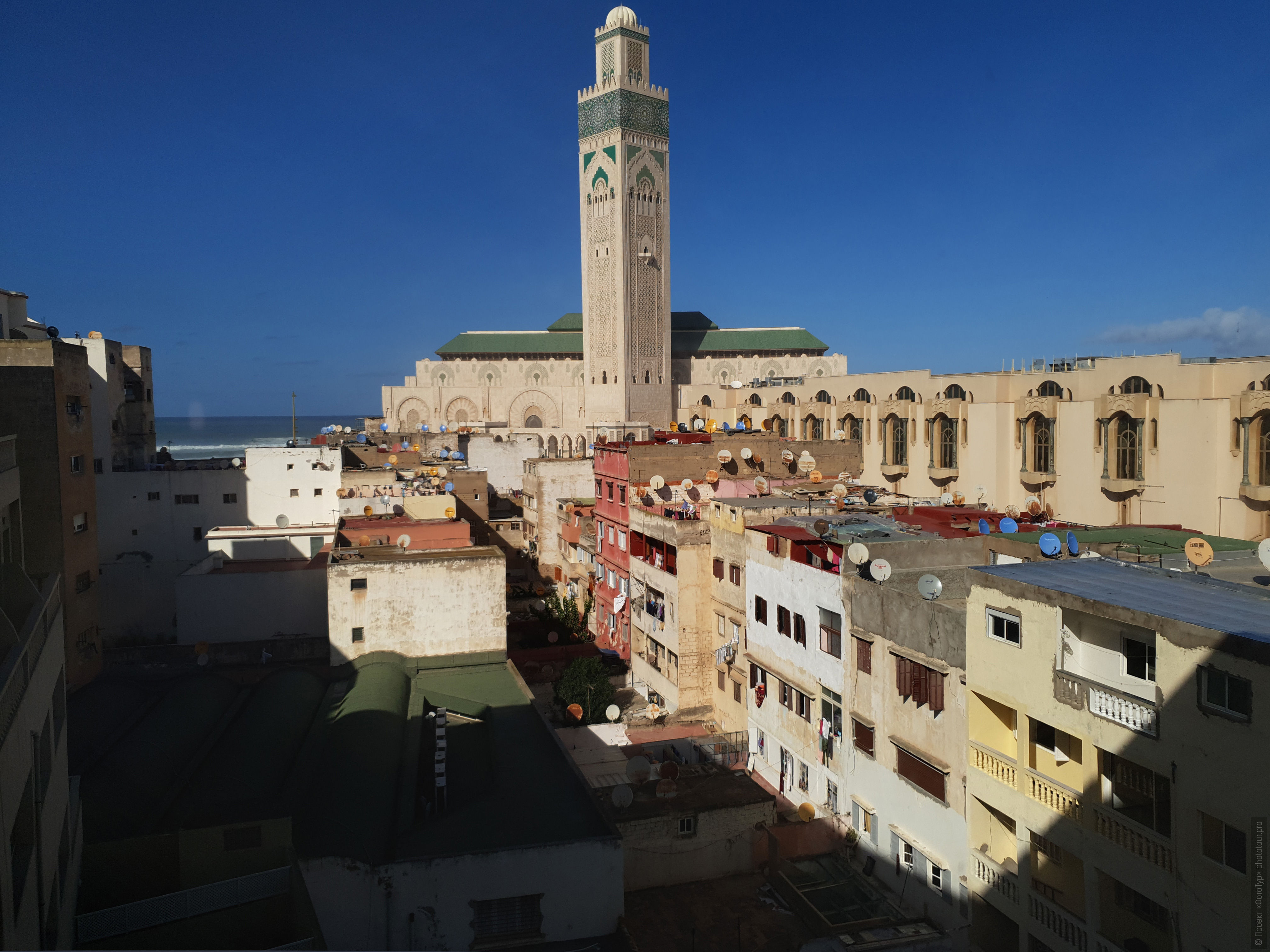 Hassan II Mosque. Adventure photo tour: medina, cascades, sands and ports of Morocco, April 4 - 17, 2020.