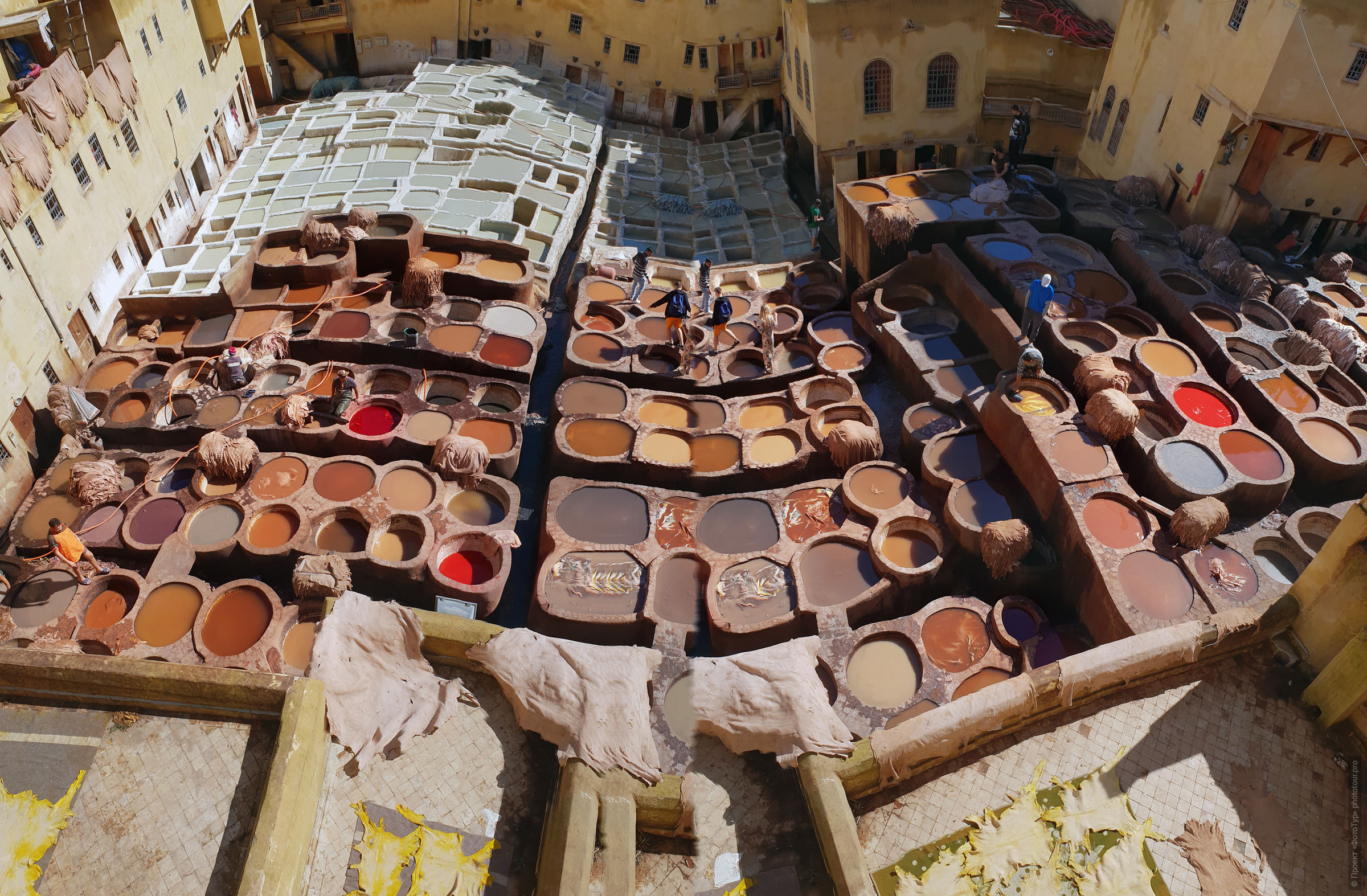 Shuara dyeing room, photo panorama. Adventure photo tour: medina, cascades, sands and ports of Morocco, April 4 - 17, 2020.