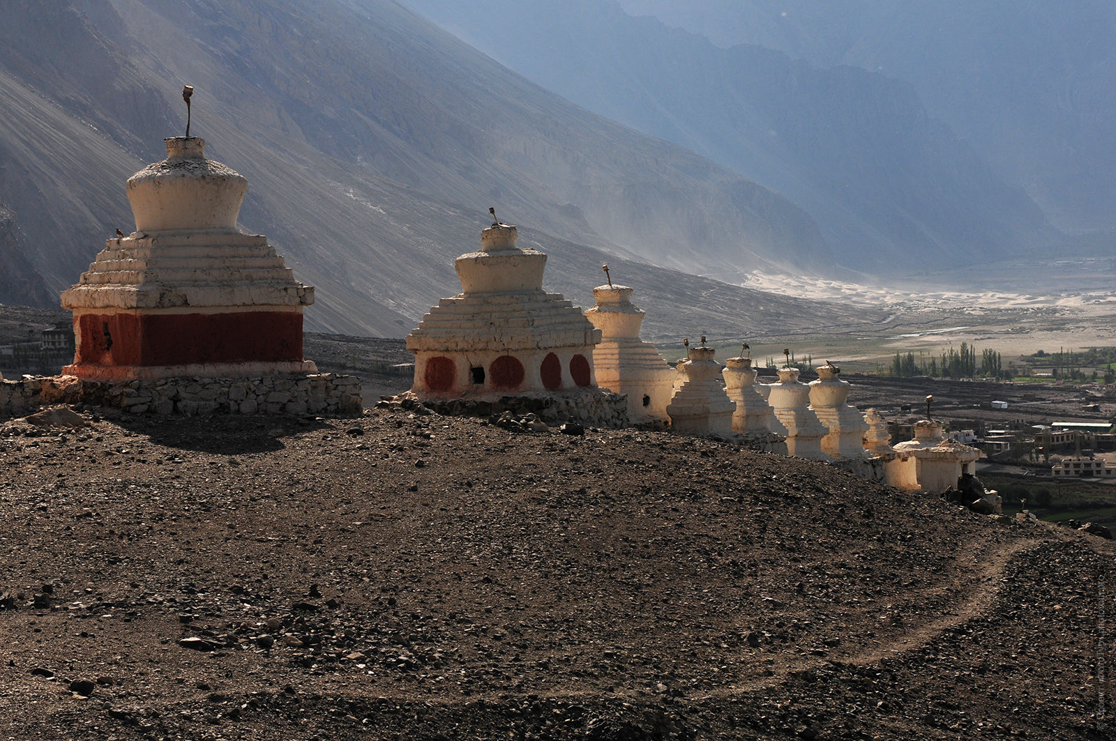 The ancient Buddhist stupa near the monastery disk Gompa, Nubra, Ladakh. Photo tour in Nubra valley, October 2017.
