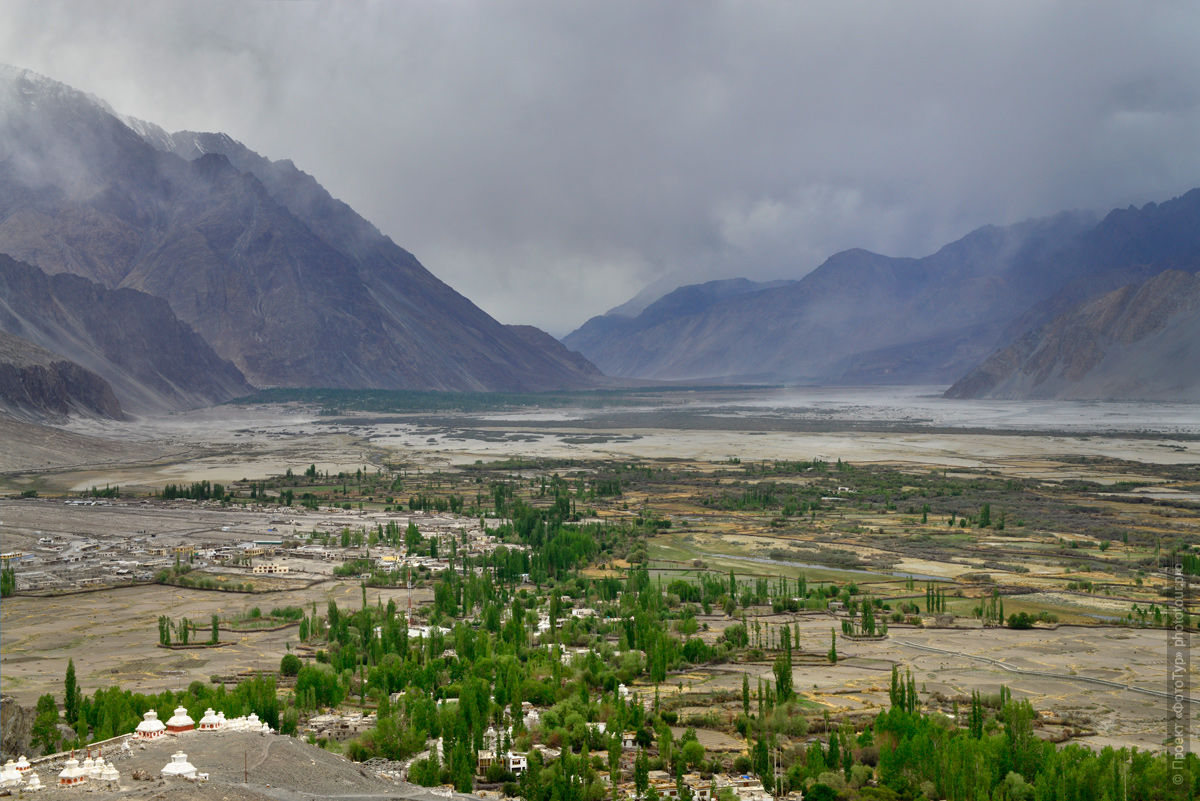 Dust storm in the high Nubra Valley, Ladakh. Tour in Nubra valley, October 2017.