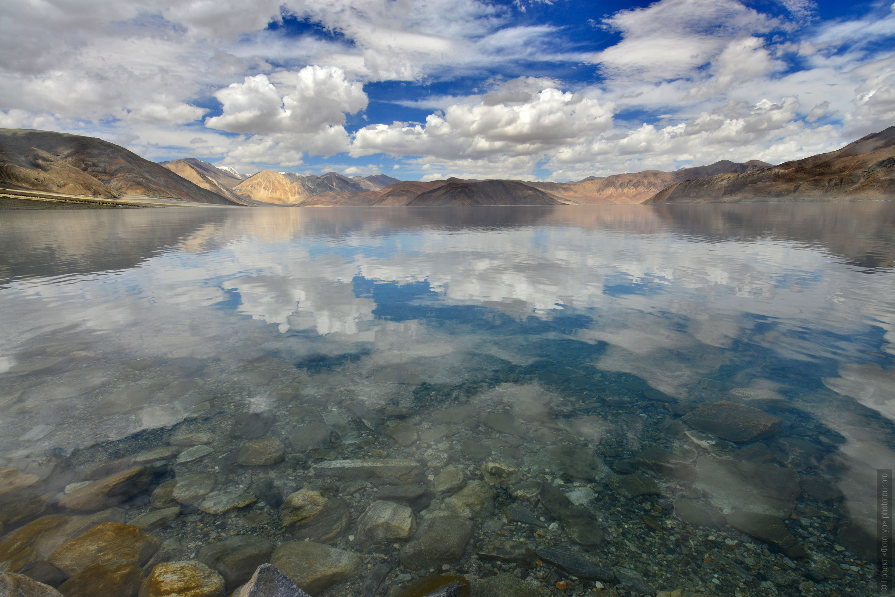 Photo of alpine lake Pangong Tso, Ladakh. Expedition Tibet Lake-2: Pangong, Tso Moriri, Tso Kar, Tso Startsapak, Leh-Manali highway.