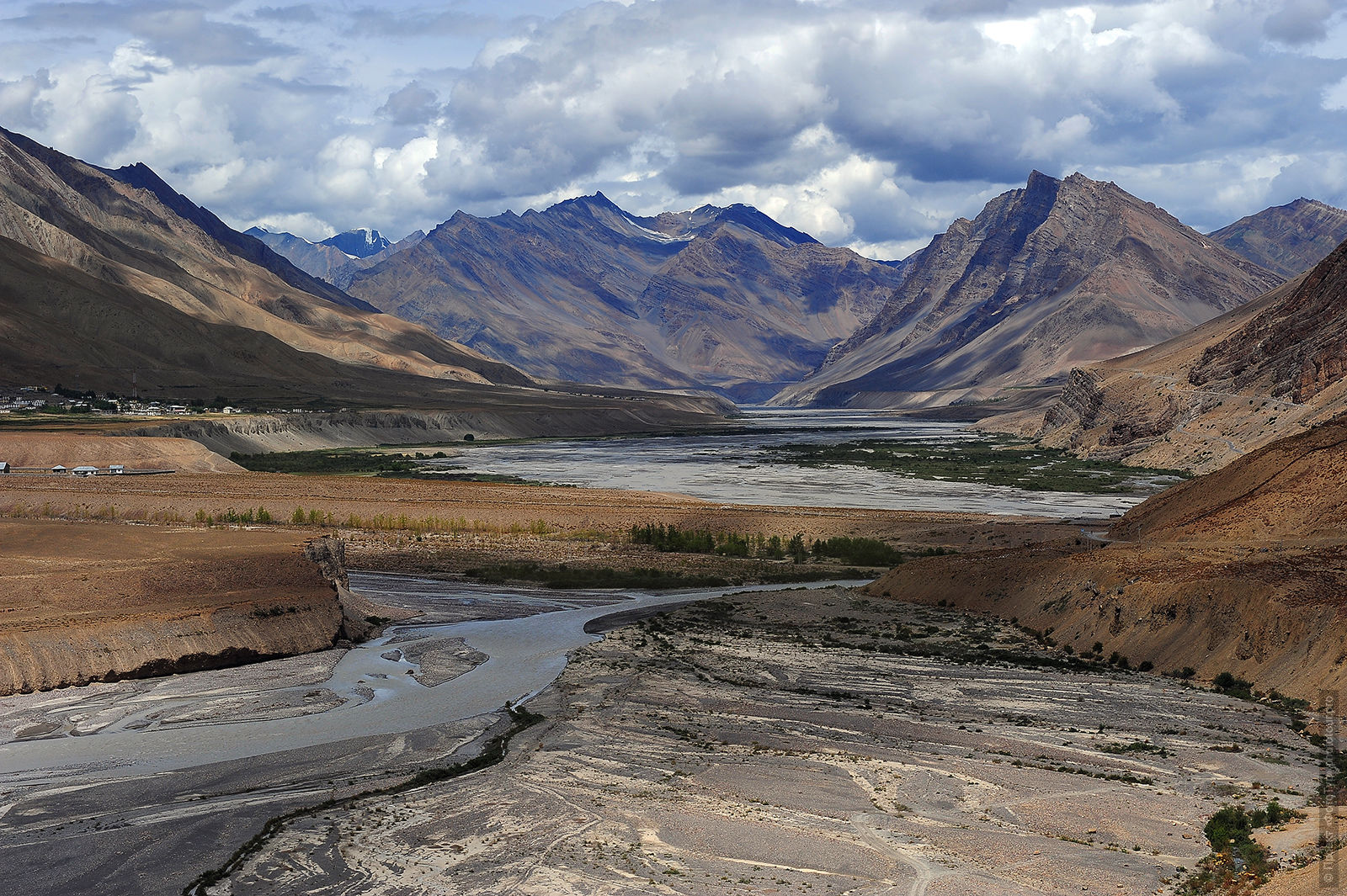 The landscape of Spiti valley from the village Cosa. Photo Tour of the valley of Spiti, Little Tibet, August 2017.