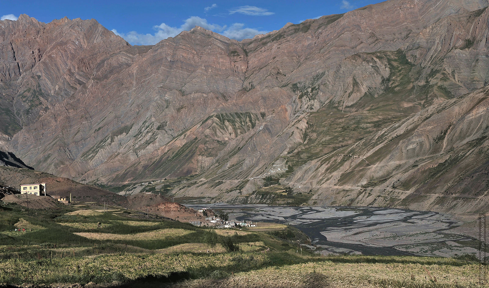 Pin Valley, the area of a Buddhist monastery Kungri Gompa, Spiti Valley. Tour of the Valley of Spiti, in August 2017.