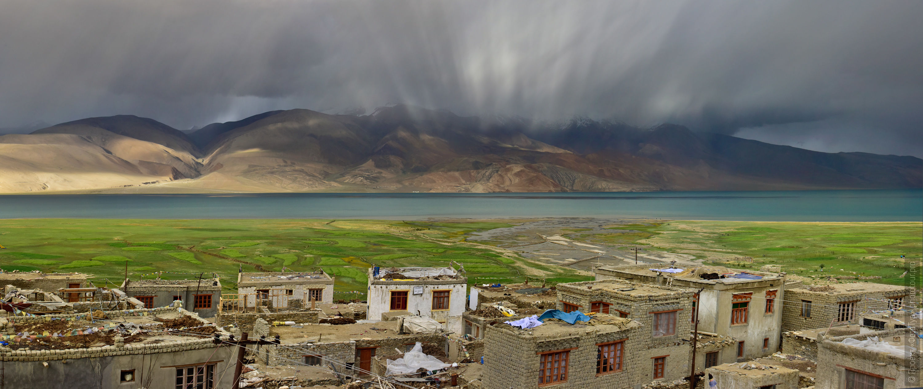 Photo panorama of Lake Tso Moriri during a thunderstorm. Expedition Tibet Lake-2: Pangong, Tso Moriri, Tso Kar, Tso Startsapak, Leh-Manali highway.