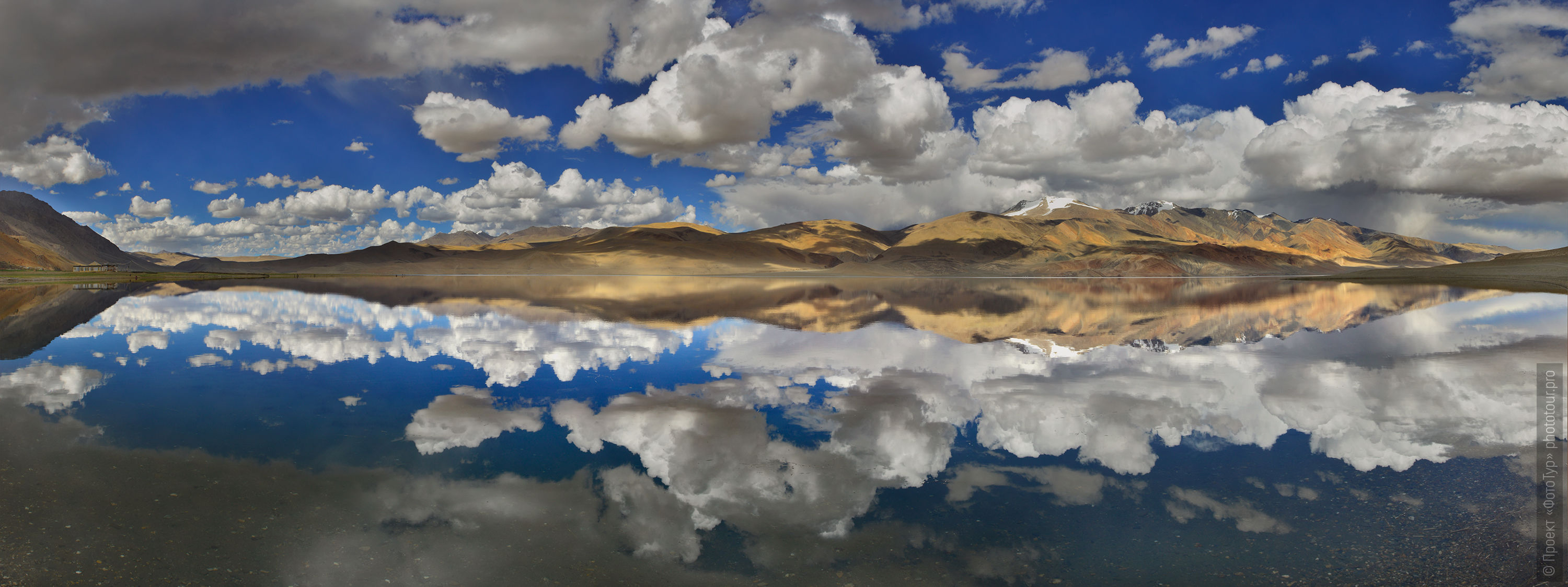 Mirror reflection of Lake Tso Moriri. Expedition Tibet Lake-2: Pangong, Tso Moriri, Tso Kar, Tso Startsapak, Leh-Manali highway.