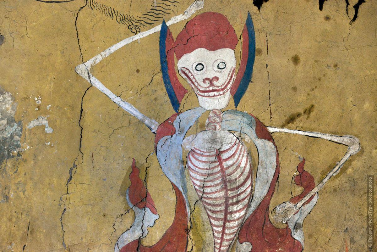 Росписи стен буддийского монастыря Тиксей Гонпа, Ладакх, Тибет, Индия.