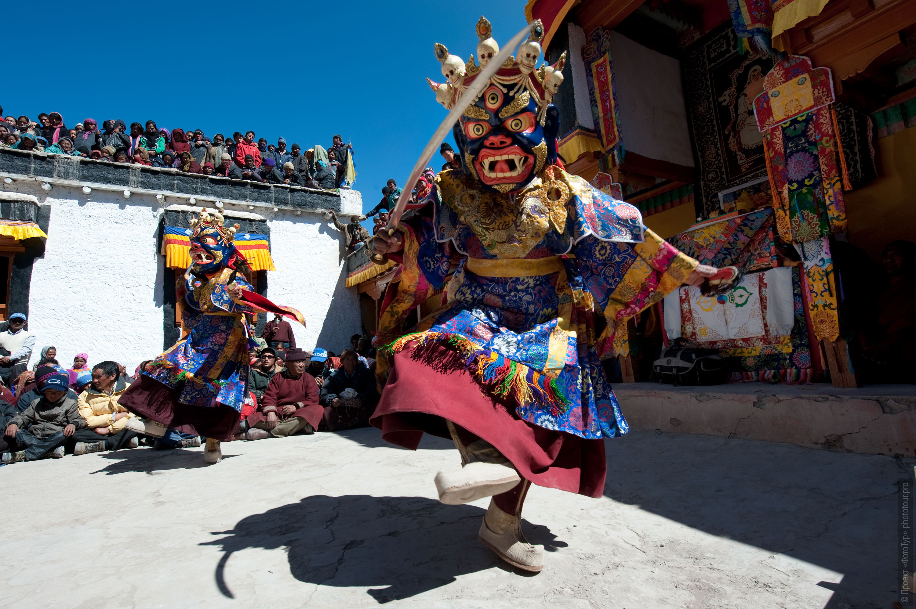 Skeleton Dance at the Stock Monastery. Photo tour to Tibet for the Winter Mysteries in Ladakh, Stok and Matho monasteries, 01.03. - 03/10/2020