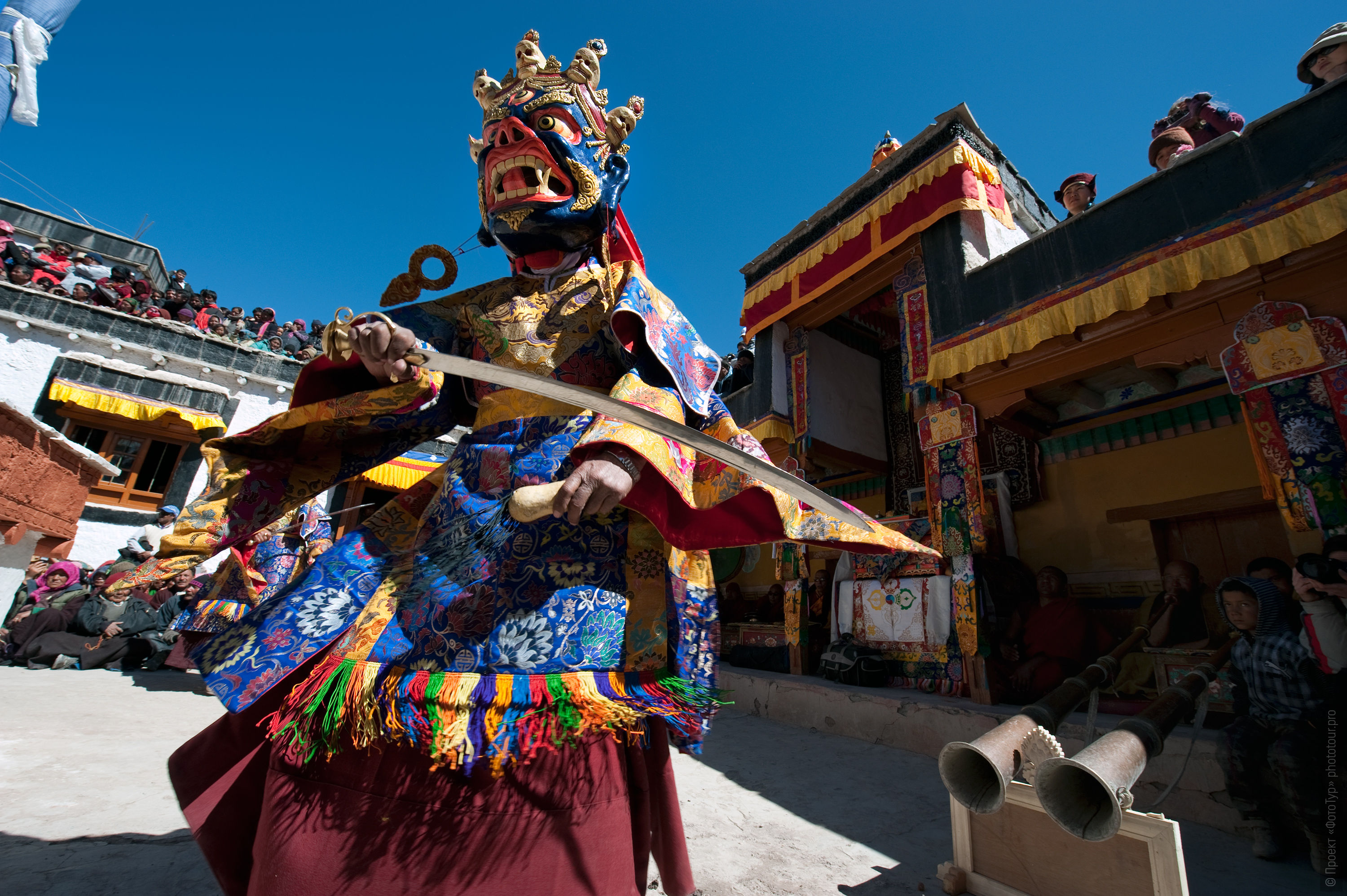 Mahakala Dance in the Monastery Stock. Phototour to Tibet for the winter mysteries in Ladakh, the monasteries Stok and Matho, 01.03. - 03/10/2020